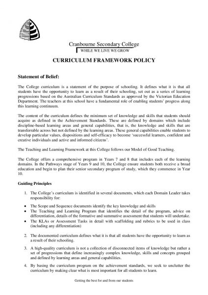 Curriculum Framework Policy