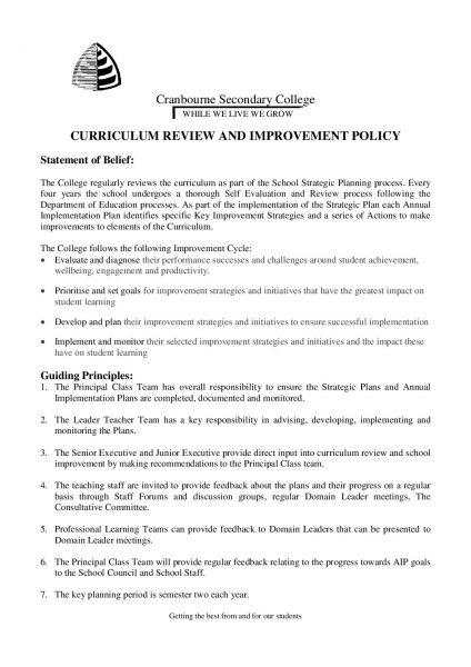 Curriculum Review & Improvement Policy