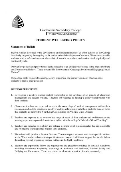 Student Wellbeing Policies