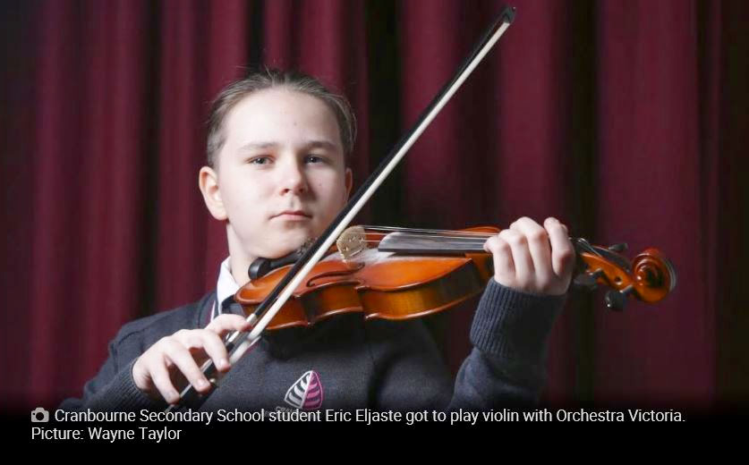 Cranbourne Secondary School student Eric Eljaste got to play violin with Orchestra Victoria. Picture: Wayne Taylor