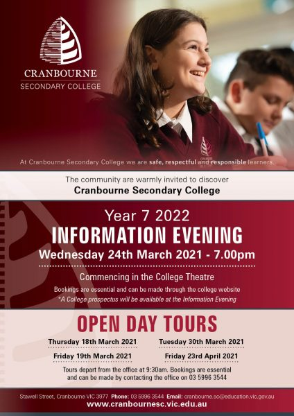 Open Day Tours @ Cranbourne Secondary College